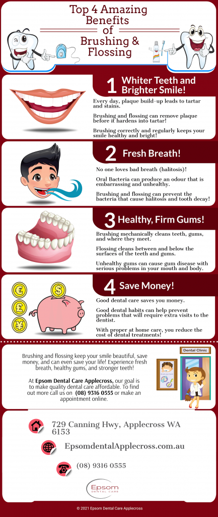 top 4 amazing benefits of brushing and flossing from epsom dental care applecross infographic